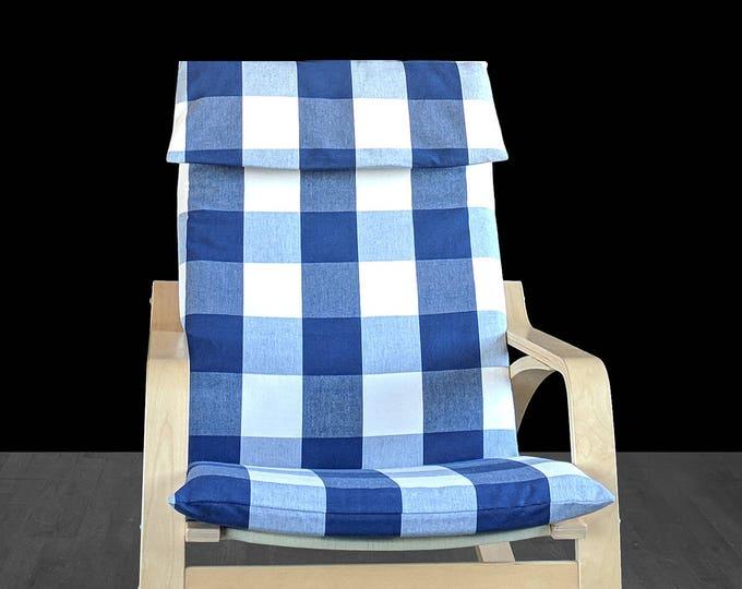 Buffalo Check Navy Blue IKEA POÄNG Chair Cover, Plaid Ikea Seat Cover
