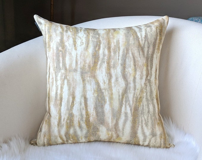 Beige Marble Watercolor Lines Pillow Cover