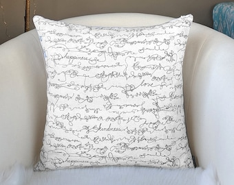 White Calligraphy Script Pillow Cover
