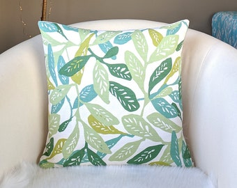 Green Leaves Throw Pillow Cover
