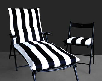 IKEA OUTDOOR Slip Cover, Black White Stripe Covers, Chaise, Chair Pad, Lounge Pad Cover