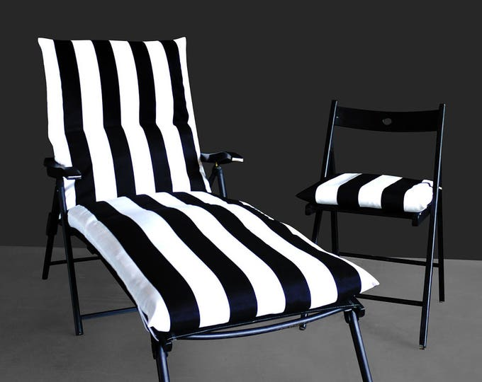 Black White Stripe IKEA OUTDOOR Slip Cover, Multiple Prints Outdoor Covers, Chaise Pad Cover, Chair Pad Cover