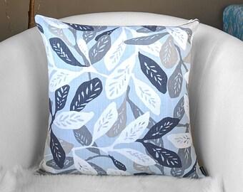 Indigo Blue Leaves Pillow Cover