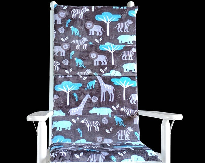 Safari Animals Rocking Chair Pads, Foam Inserts And Covers For Rocking Chair, Ready to Ship