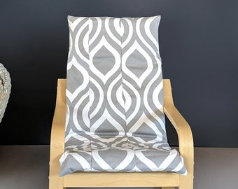 Patchwork Gray Retro Print IKEA Childrens POÄNG Cushion Slipcover, Ready to Ship