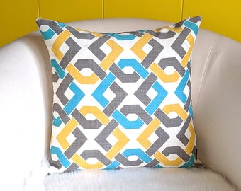 Turquoise Blue Yellow Geometric Pillow Cover