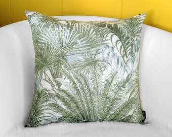 Green Palm Leaf Print Throw Pillow Cover