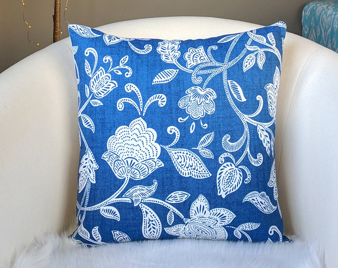Blue and White Flowers Throw Pillow Cover