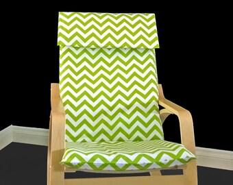Custom Ikea Chair Covers, Green Chevron IKEA POÄNG Seat Cover, Ikea Cushion Covers, 2017 Ikea Slip Covers