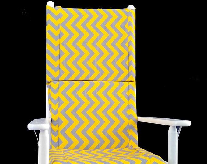 Yellow Chevron Zig Zag Rocking Chair Cushion