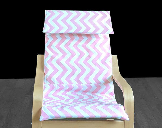 Pink White Chevron IKEA KIDS POÄNG Cushion Slipcover