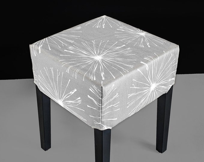 Ikea Stool Cover, Gray Blossoms
