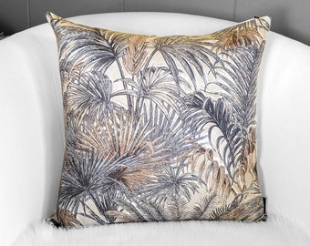 Palm Leaves Beige Brown Pillow Cover