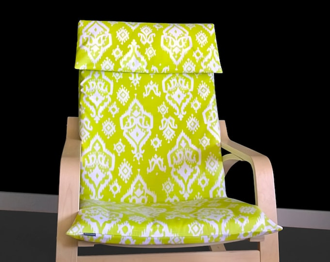 Lime Green Ikat Ikea Poang Chair Seat Cover