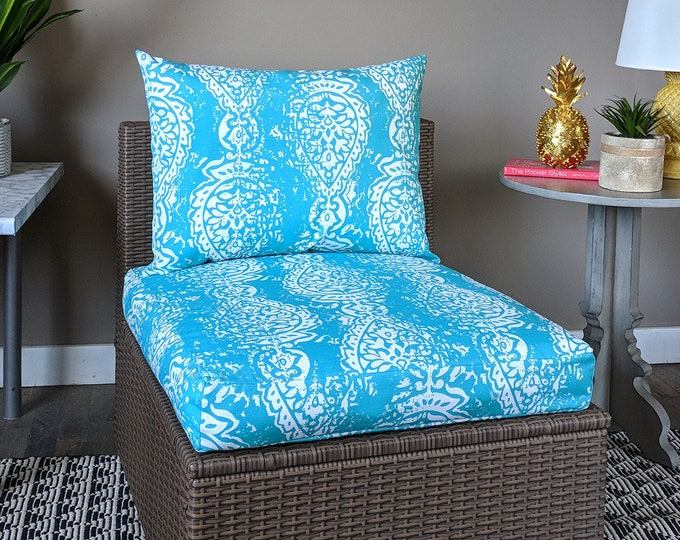 Turquoise Blue Indian Print, IKEA OUTDOOR Ikat Slip Cover, Ikea Cushion Covers, Custom Ikea Decor, Bespoke Arholma Covers