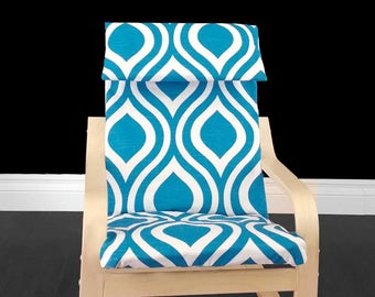 Blue Patterned Child's Ikea Poang Seat Cover
