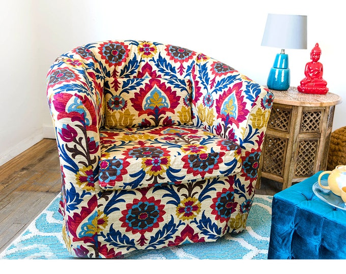 Colorful Floral IKEA TULLSTA Chair Cover, Red Blue Gem