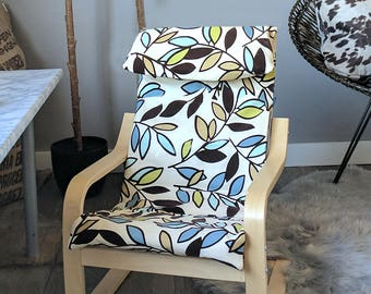 Blue Brown Flocked Leaf Print IKEA KIDS POÄNG Cushion Slip Cover