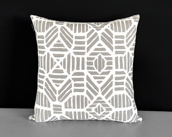 Aztec Patterned Gray Cushion Cover, Ribble Gray