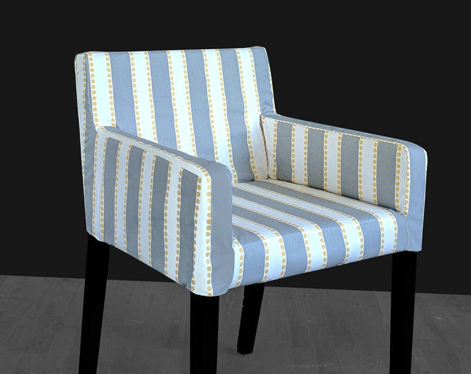 IKEA NILS Customized Chair Slip Cover, Gray Stripe