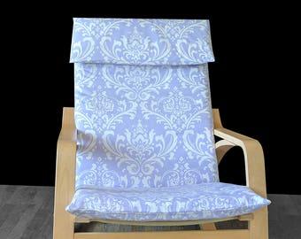 SALE Lavender Damask IKEA POÄNG Cushion Slipcover, Flap style