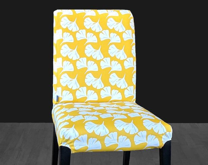 Yellow Oriental Floral Print IKEA HENRIKSDAL Chair Cover