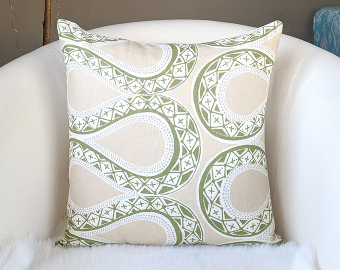 Tribal Beige and Green Throw Pillow Cover