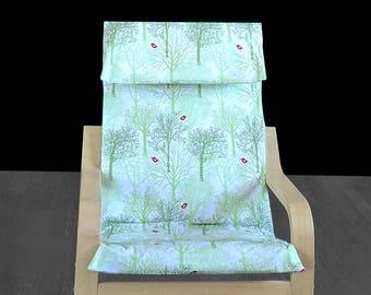 Mint Green Forest IKEA KIDS POÄNG Cushion Seat Cover