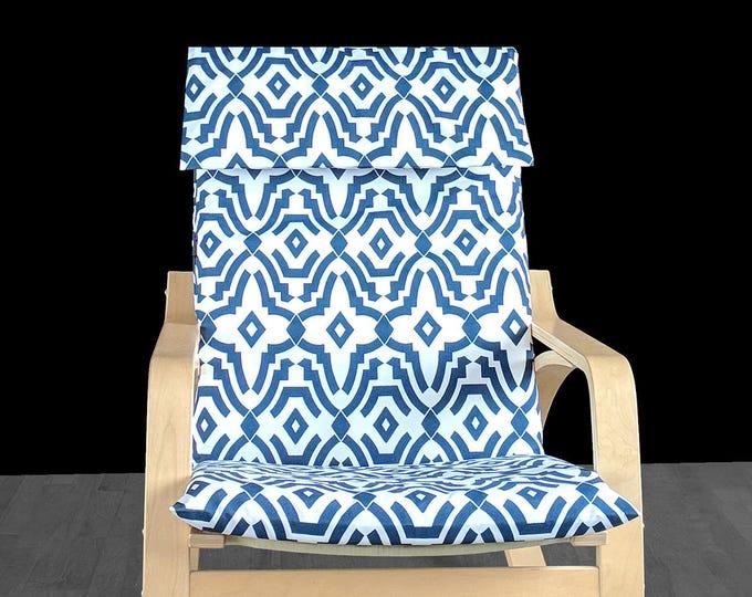 Geometric Print Navy Blue IKEA POÄNG Cushion Slip Cover, Funky Ikea Seat Cover