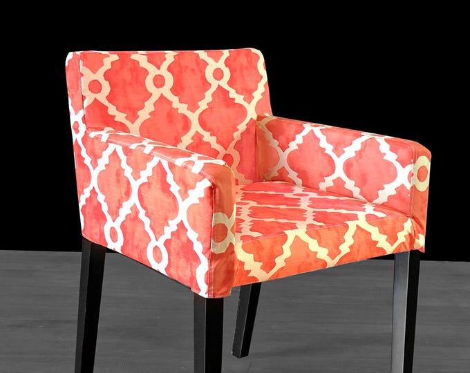 Orange Geometric Seat Cover, IKEA NILS Chair Slip Cover - Madrid Salmon