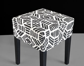 Black Tribal Print, Ikat IKEA Stool Seat Cover