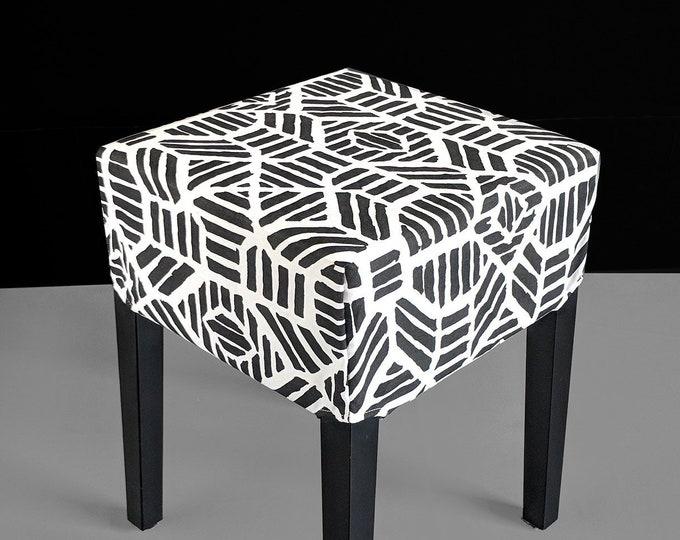 Black Tribal Print, Ikat IKEA Stool Seat Cover