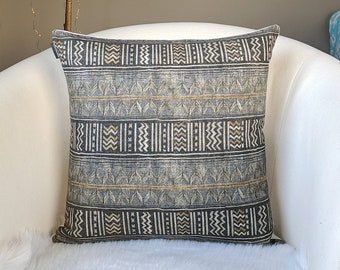 Tribal Gray Gold Pillow Cover