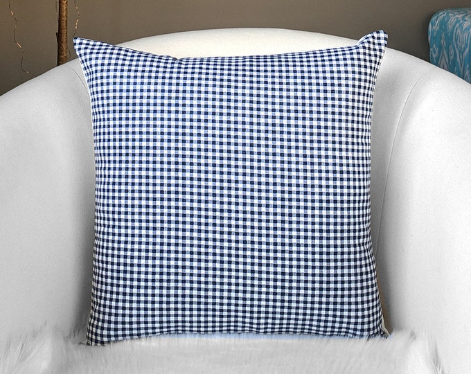 Classic Black Gingham Check Pillow Cover