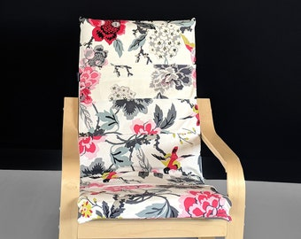 Patchwork White Turquoise Red Floral IKEA Childrens POÄNG Cushion Slipcover, Ready to Ship