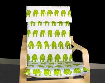 White Green Elephant Ikea POÄNG Cushion Slip Cover, Ready to Ship