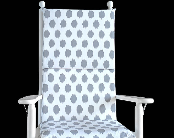 Gray Polka Dot Rocking Chair Cover, Foam Inserts