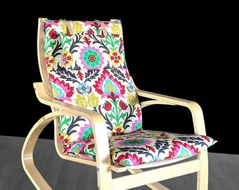 RETRO Style IKEA POÄNG Cushion Slipcover, Flower Print Poang Chair Cover