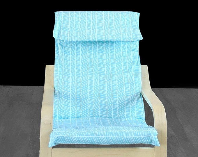 Turquoise Herringbone IKEA KIDS POÄNG Cushion Slipcover, Childs Nursery Room Ikea Poang Cover