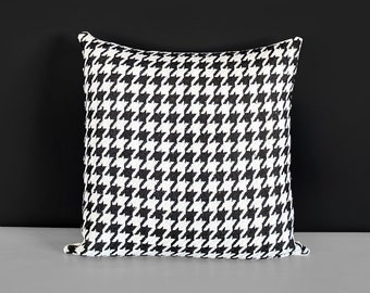 Gray Woven Houndstooth Pillow Cover