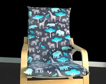 Safari Animals Custom Ikea Cover, Poang Chair Cover, Customized Poang Slipcover