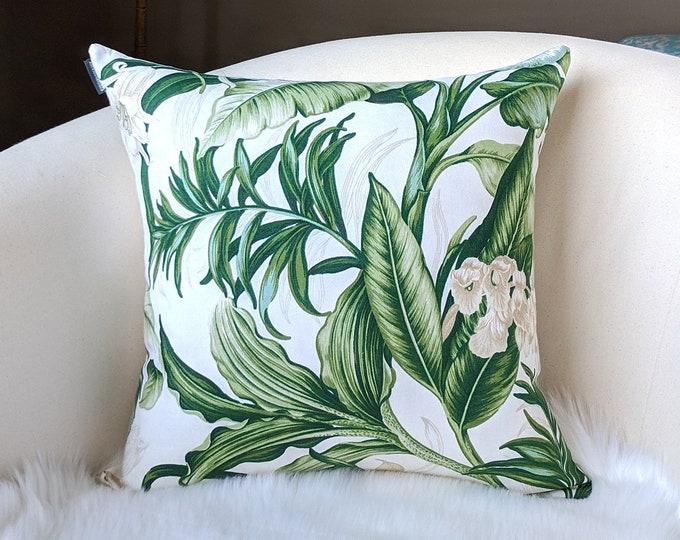 Green Garden Print Throw Pillow Cover