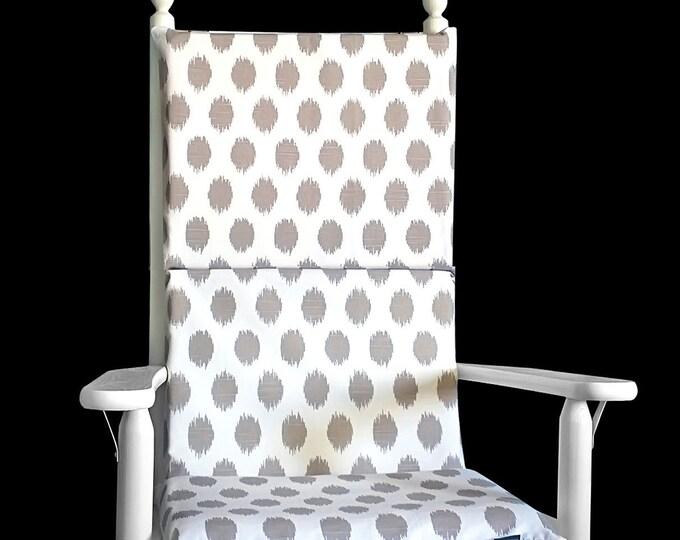 Ikat Polka Dot Rocking Chair Pad, Jo Jo Ecru Beige