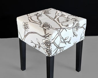 IKEA Stool Cover, Gray Floral