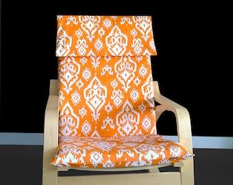 Custom Indian Print IKEA POÄNG Chair Cover - Raji Orange