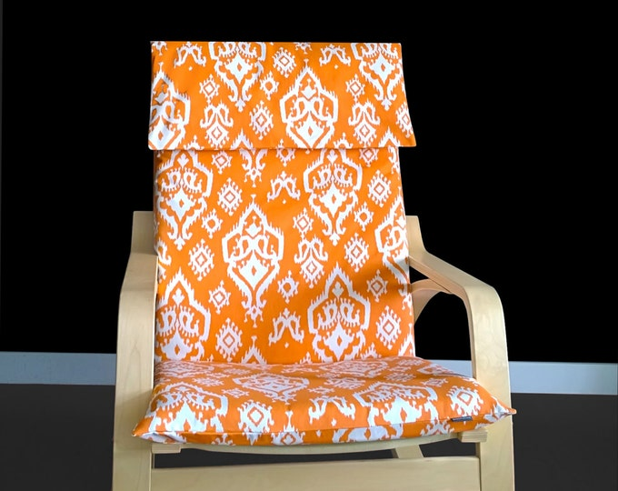 Custom Indian Print IKEA POÄNG Chair Cover - Raji Orange