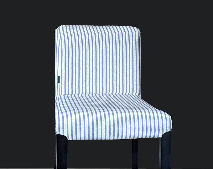 Blue Ticking Stripe, Custom Henriksdal Chair Covers, Ikea Seat Cover