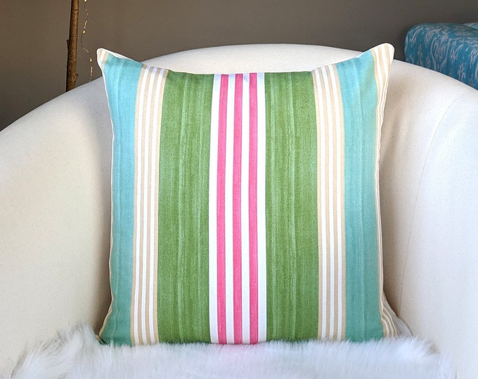 "Pink Blue Green Stripe Pillow Cover, 18"" x 18"", Ready to Ship"
