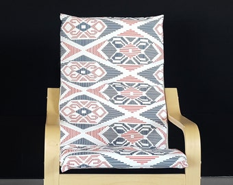 Aztec IKEA KIDS Ikat POÄNG Cushion Slipcover, Coral Pink, Navy Blue