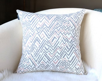 "Gray Blush Pink Chevron Pillow Cover 18"" x 18"", Ready to Ship"